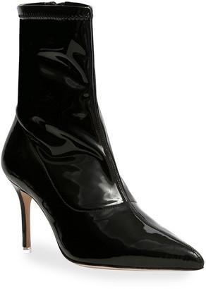 Black Suede Studio Akiyo Stretch Patent Ankle Booties
