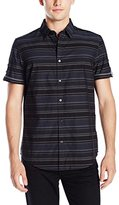 Calvin Klein Men's Horizontal Stripe Short Sleeve Button Down Shirt