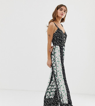 Miss Selfridge Petite jumpsuit in mixed floral prints-Black