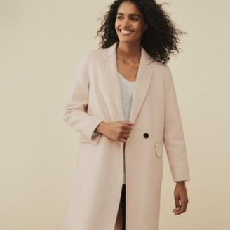 The White Company Classic Double-Faced Wool Coat, Rose, Small