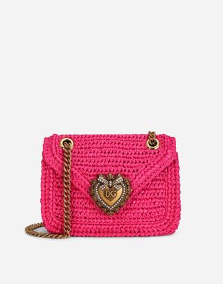 Dolce & Gabbana Medium Crochet Raffia Devotion Bag