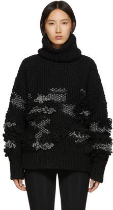 McQ Black Crochet Tassel Turtleneck Sweater