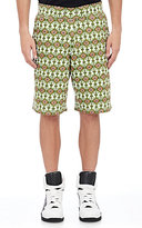 Givenchy MEN'S FRENCH TERRY SWEATSHORTS-GREEN, WHITE SIZE M