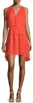 Derek Lam 10 Crosby Sleeveless Tiered Silk Dress, Orange