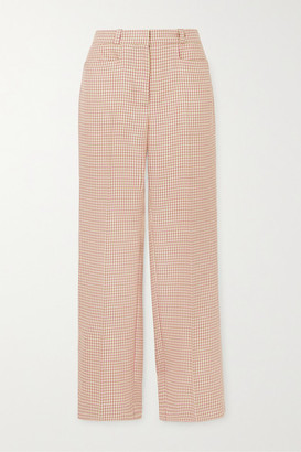 ALEXACHUNG Cropped Houndstooth Woven Straight-leg Pants - Pink