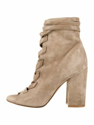 Gianvito Rossi Suede Lace-Up Boots Beige