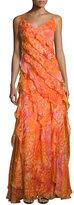 Carmen Marc Valvo Sleeveless Floral Silk Ruffle Gown, Coral