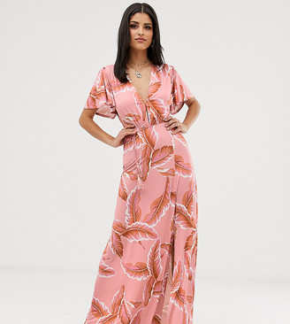 Asos DESIGN Tall floral flutter sleeve maxi dress with tassel belt