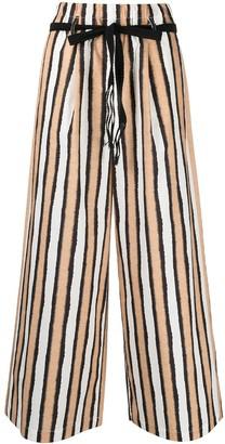 Alysi Striped Cotton Palazzo Trousers