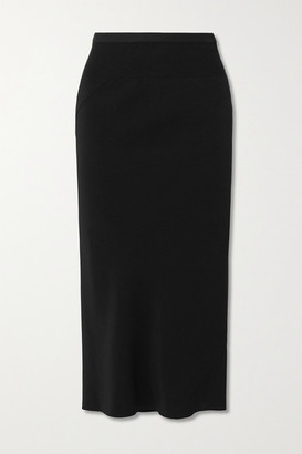 Rick Owens Gonna Asymmetric Ribbed Cotton Blend-trimmed Jersey Skirt - Black