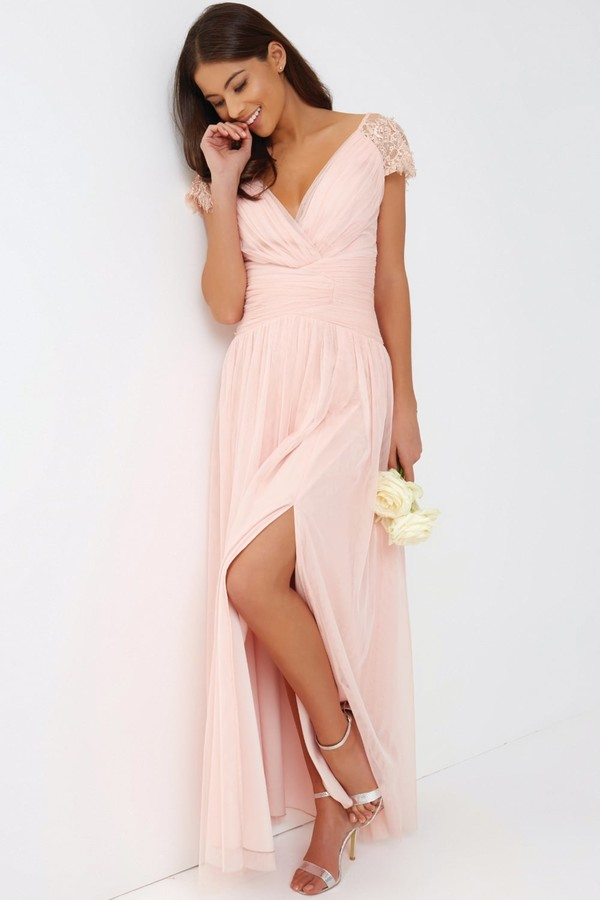 Thumbnail for your product : Little Mistress Pink Tulle Maxi Dress