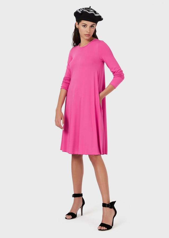 Emporio Armani Wide-Cut Dress In Crepe-Look Stretch Fabric