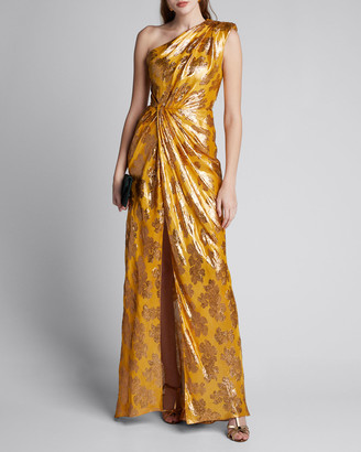 Monique Lhuillier One-Shoulder Foiled Gown