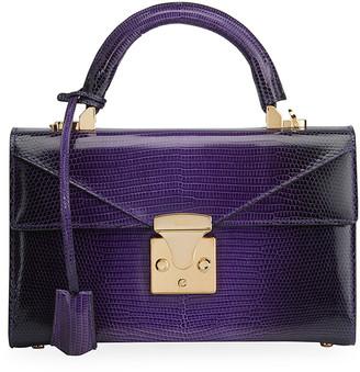 Stalvey Lizard 24K Gold 2.5 Small Top-Handle Bag, Purple