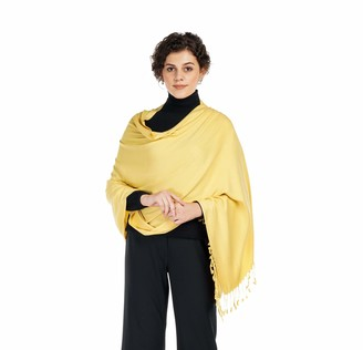 Allen & Mate Handcrafted Soft Pashmina Shawl Scarf Wrap Stole for Women in Solid Colors (Gold)