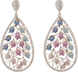 Eye Candy La Spring Fever Pave Leaf Drop Earrings