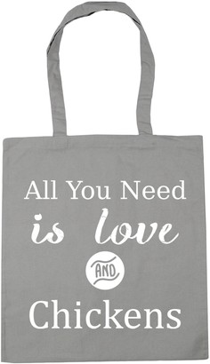 HippoWarehouse All You Need is Love and Chickens Tote Shopping Gym Beach Bag 42cm x38cm 10 litres