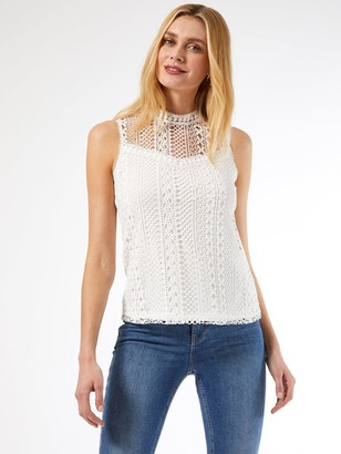 Dorothy Perkins Sleeveless Lace Top -White