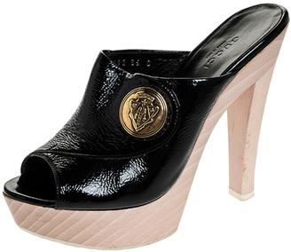 Gucci Black Patent Leather Hysteria Platform Clogs Size 35