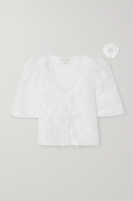 MAISONCLÉO Agnes Silk And Linen-blend Fil Coupe Organza Blouse - White