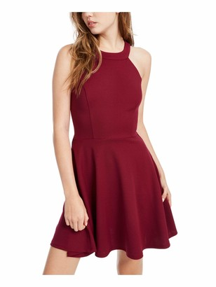 Speechless Womens Burgundy Zippered Sleeveless Halter Mini Fit + Flare Party Dress Juniors UK Size:16