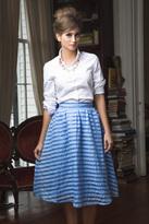 Shabby Apple Park Ave. Midi Skirt Blue