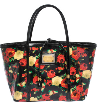 Dolce & Gabbana Multicolor Floral Print Vinyl and Patent Leather Miss Escape Tote