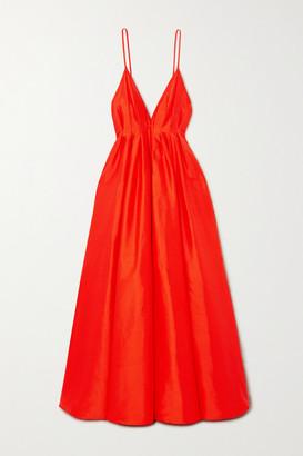 PARIS GEORGIA Bella Open-back Pintucked Silk-taffeta Gown - Orange