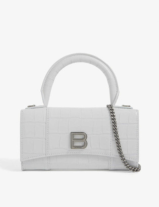 Balenciaga Hourglass crocodile-embossed leather phone pouch