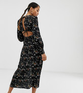 Fashion Union Petite midi dress with open back detail in floral