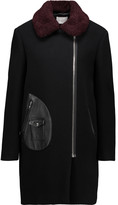 Sandro Maya shearling and leather-trimmed wool-blend coat