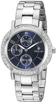 Titan Women's 9966SM01 Blue Dial Analog Display Quartz, Silver Watch