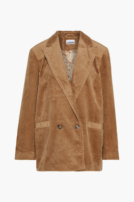 Ganni Double-breasted Shell-paneled Cotton-corduroy Blazer