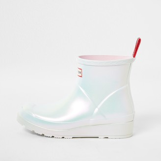 Hunter River Island Womens White short gloss boot wellies