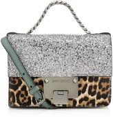 Jimmy Choo REBEL SOFT MINI Silver Coarse Glitter Fabric and Leopard Print Pony Mini Cross Body Bag