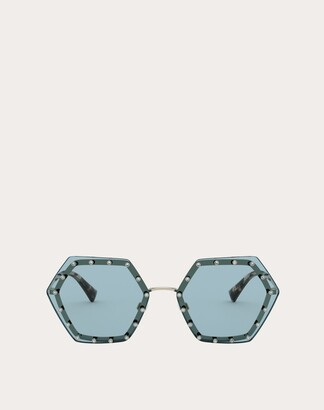Valentino Hexagonal Metal Frame With Crystal Studs Women Gold/green 100% Metallic Fibre OneSize