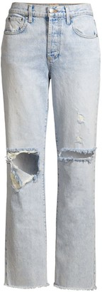 Alice + Olivia Amazing High-Rise Distressed Boyfriend Jeans