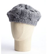 dove grey cable knit wool blend beret