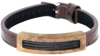 Big Jewelry Co Brown Leather Bracelet with Wood and Cable Inlay