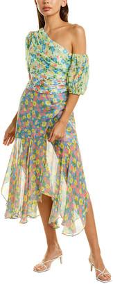 AMUR Jaylah Silk Midi Dress