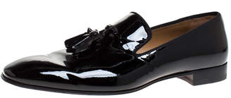 Christian Louboutin Black Patent Leather Dandelion Tassel Slip On Loafers Size 43.5