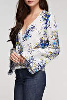Love Stitch Lovestitch Floral Printed Surplice Top