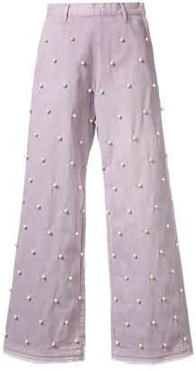 Tu Es Mon Trésor embellished wide jeans