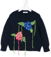 MSGM unfinished floral intarsia jumper