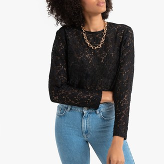 La Redoute Collections Cotton Mix Lace Blouse with Long Sleeves