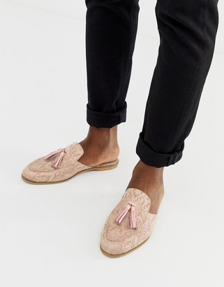 House of Hounds Helios slip on loafers in pink brocade