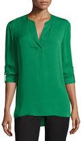 Diane von Furstenberg Esti Silk High-Low Blouse, Green