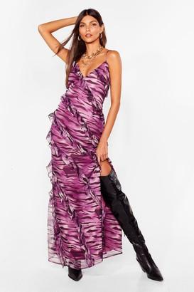 Nasty Gal Womens Herds of Wisdom Zebra Maxi Dress - Purple - 4, Purple