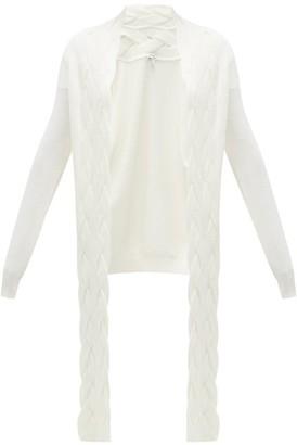 Loewe Braided Panel Wool Cardigan - Cream