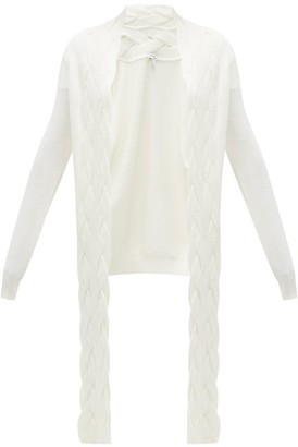 Loewe Braided Panel Wool Cardigan - Womens - Cream